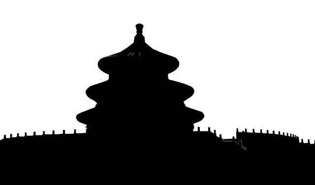 black and white silhouette of the Temple of Heavan