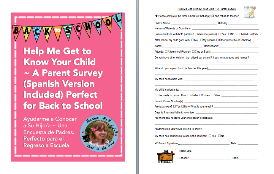 Help Me Get to Know Your Child A Parent Survey (Spanish Version Included) Back to School