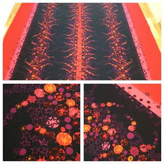 Jersey av Maud Fredin Fredholm, signerad. röd orange rosa tyg textil metervara