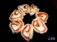 Rollitos de salmon y queso de untar