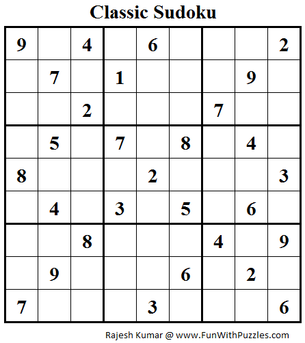 Classic Sudoku (Fun With Sudoku #45)