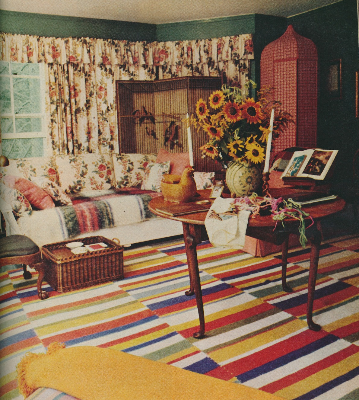 mrs parishs sitting room the rug was irish made the interesting looking corner cabinet held sweaters - Sister Parrish