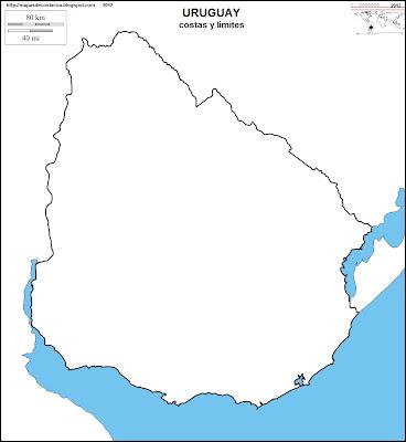 Mapa mudo de URUGUAY, costas y limites
