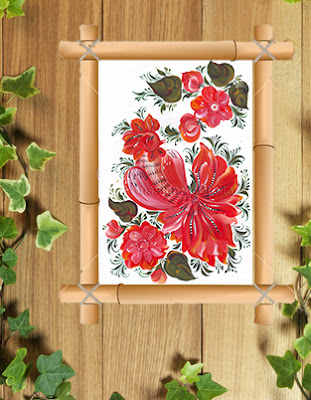 Digital Printable Rooster  with flowers in Russian folk style