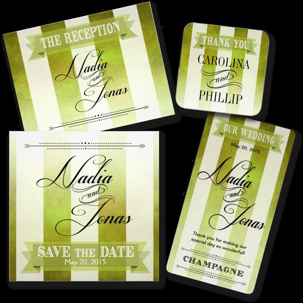 Ombre Watercolor Stripes Wedding Invitations