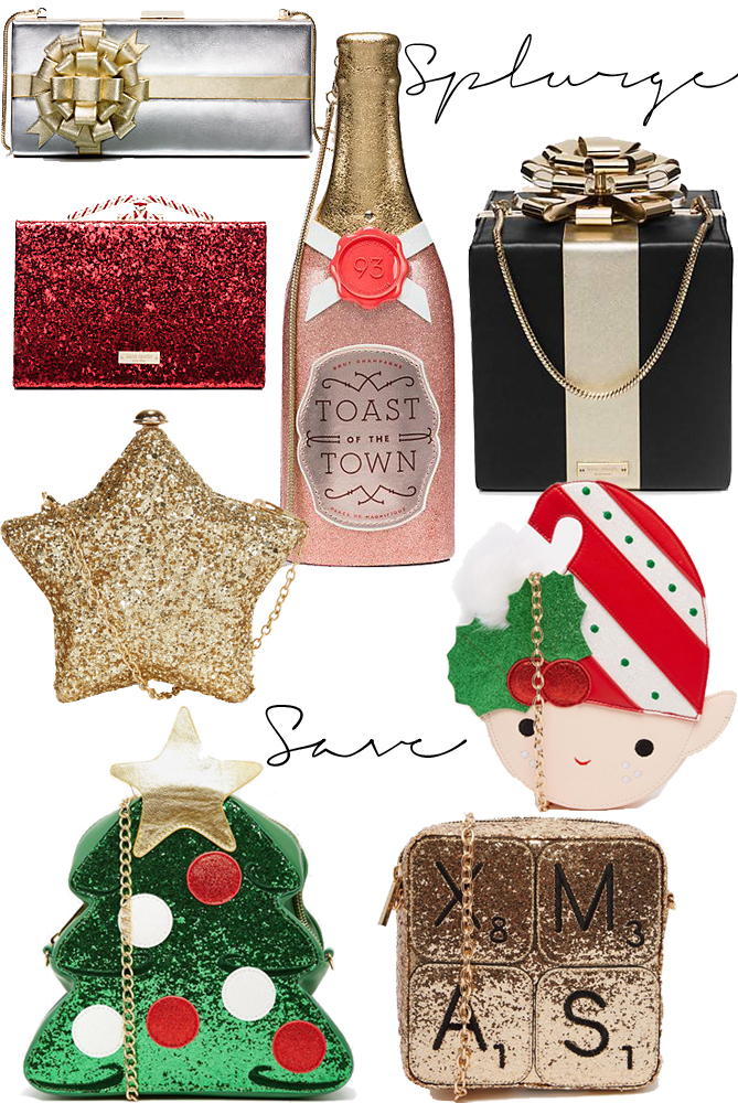 Christmas themed handbags clutches tree star elf