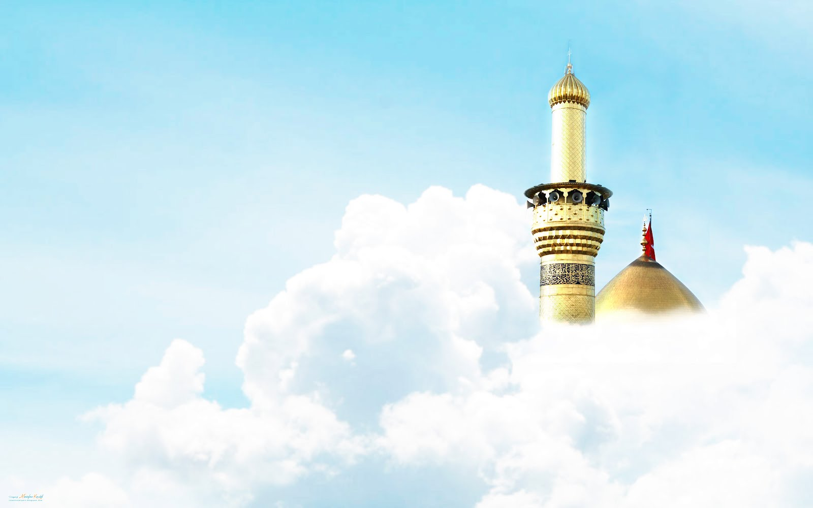 Golden Dome Mosque in Clouds – Islamic Wallpaper