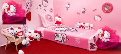 chambre à coucher en rose Hello Kitty