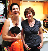 Gina, her son Brian, and me in the kitchen
