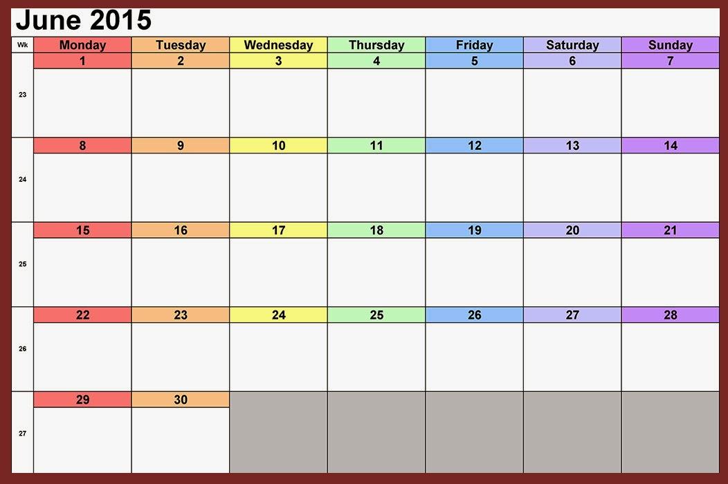 June 2015 Calendar Template Datariouruguay