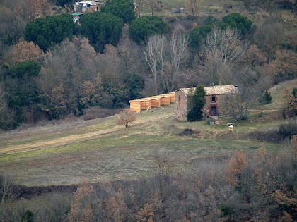 La masia de Mansa vista des de les roques del Collet del Castell