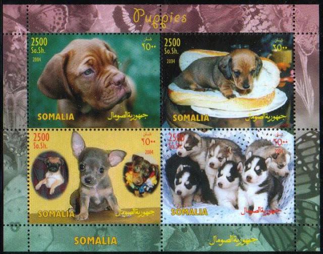 2004年ソマリア民主共和国 ボルドー・マスティフ ダックスフンド パグ チワワ ミニチュア・ピンシャー シベリアン・ハスキーの子犬の切手シート