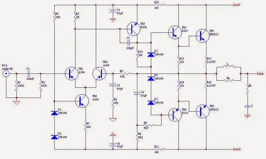 rangkaian elektronik power amplifier ocl 150watt