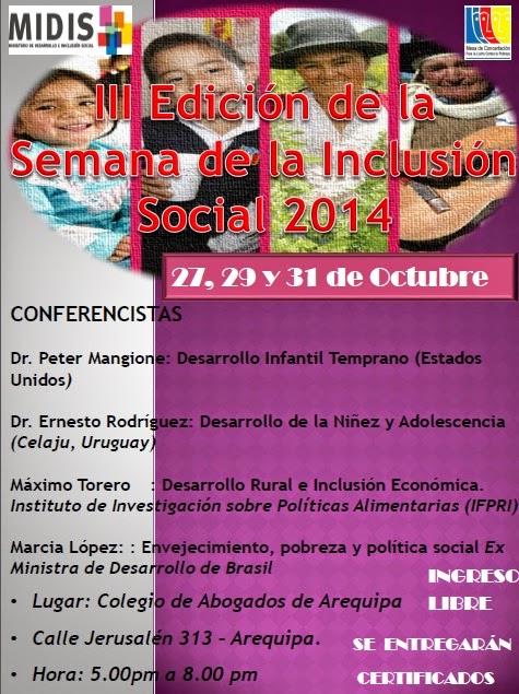 TERCERA EDICIÓN DE SEMANA DE LA INCLUSIÓN SOCIAL