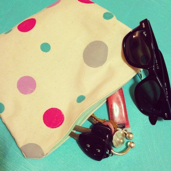 canvas spot clutch, peachmacaronsshop.com, PeachMacarons.com