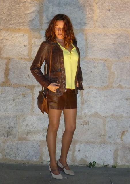 Cazadora cuero marrón