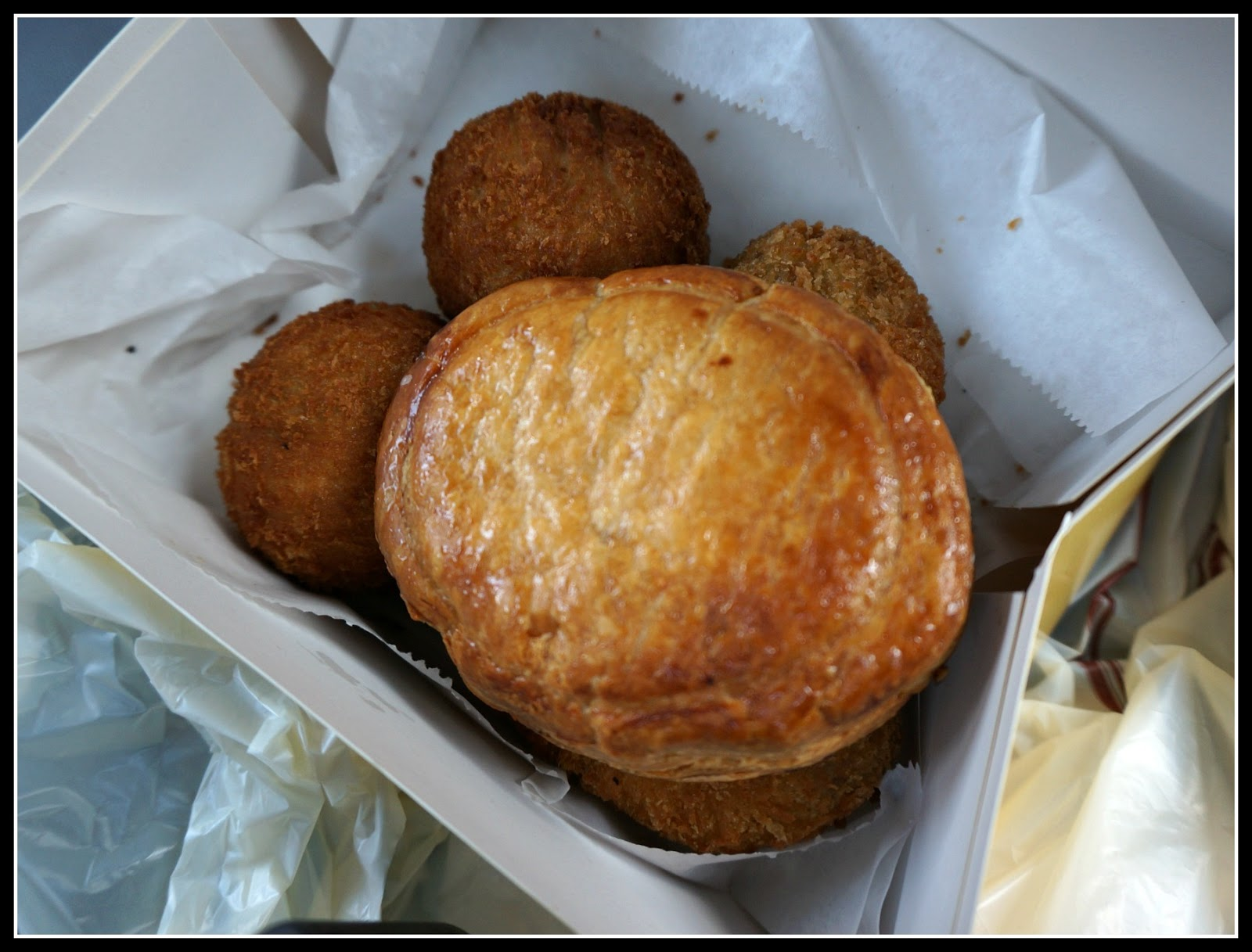 Meat pie, chicken croquette, and potato ball