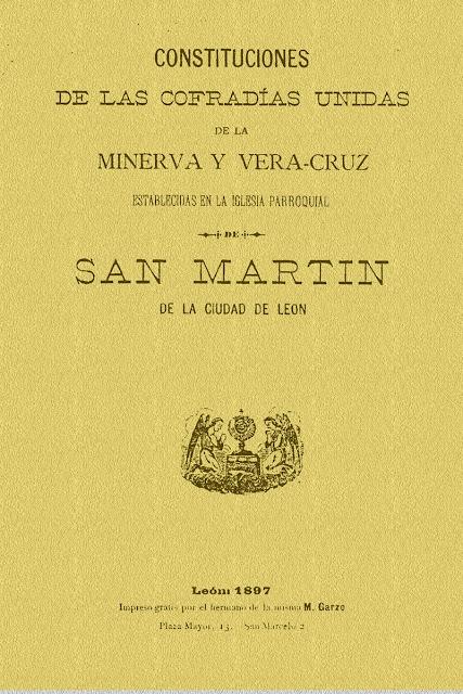 Portada de las Reglas de las Cofradías Unidas de la Minerva y Vera Cruz.