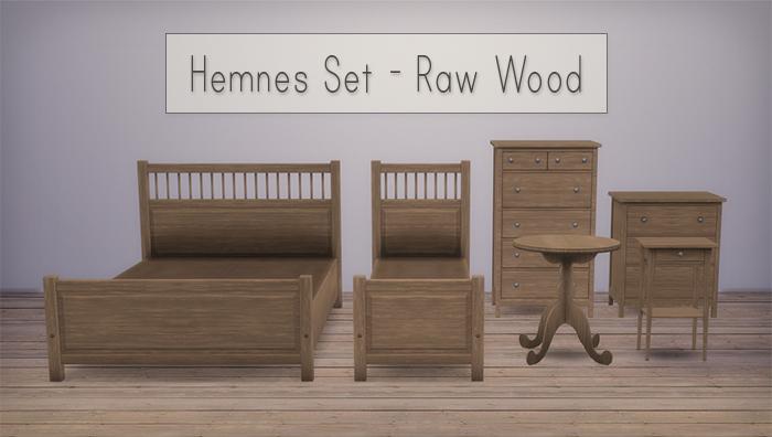 Veranka Hemnes Bedroom Set in Raw Wood Recolors by Simsrocuted. My Sims 4 Blog  Veranka Hemnes Bedroom Set in Raw Wood Recolors by