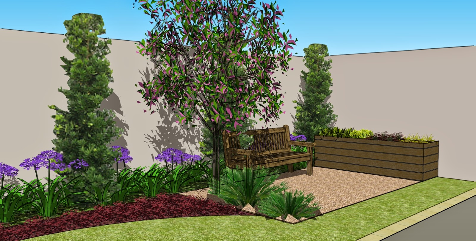 jardim quintal fundos:Uma linha de jardim mais clássico, com plantas como agapanthus, cycas