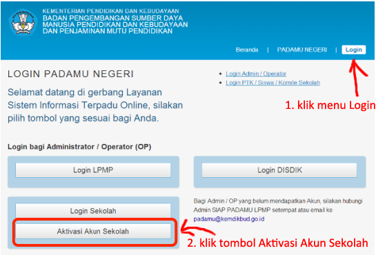 Cara Aktivasi Akun Operator Sekolah di situs http://padamu.kemdikbud ...