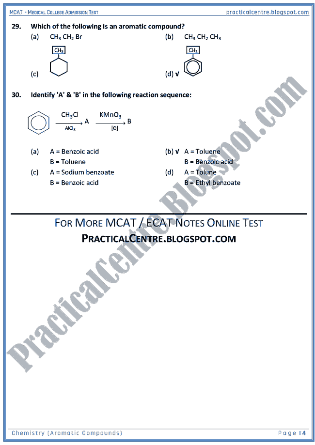 mcat-chemistry-aromatic-compounds-mcqs-for-medical-college-admission-test