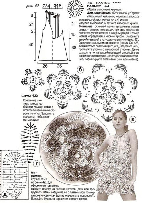 Украшение на платье крючком схема