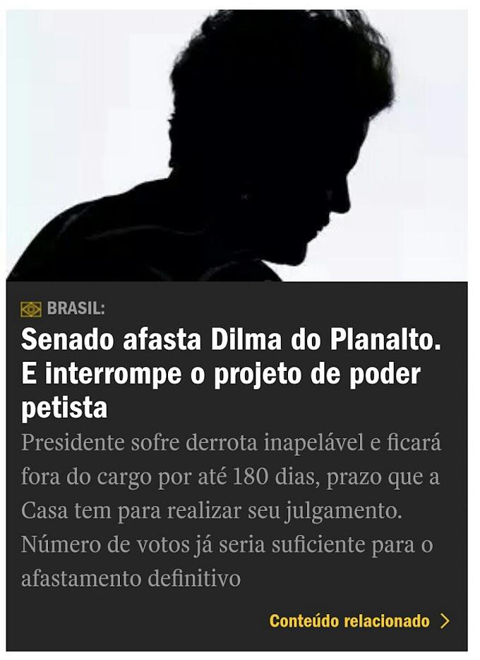 Presidente do Brasil é afastada do cargo para ser investigada