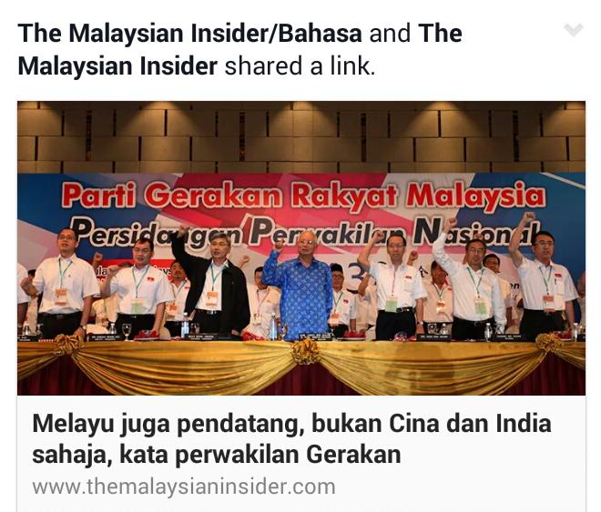 CETUS PERBALAHAN KAUM Melayu juga pendatang bukan Cina dan India sahaja kata perwakilan Gerakan Celaka