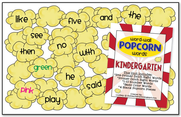 the teacher wife - language arts: word-wall popcorn words ...