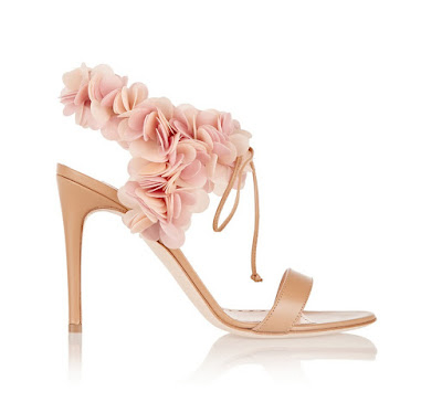 Rupert Sanderson nude stiletto sandals with pink floral appliques