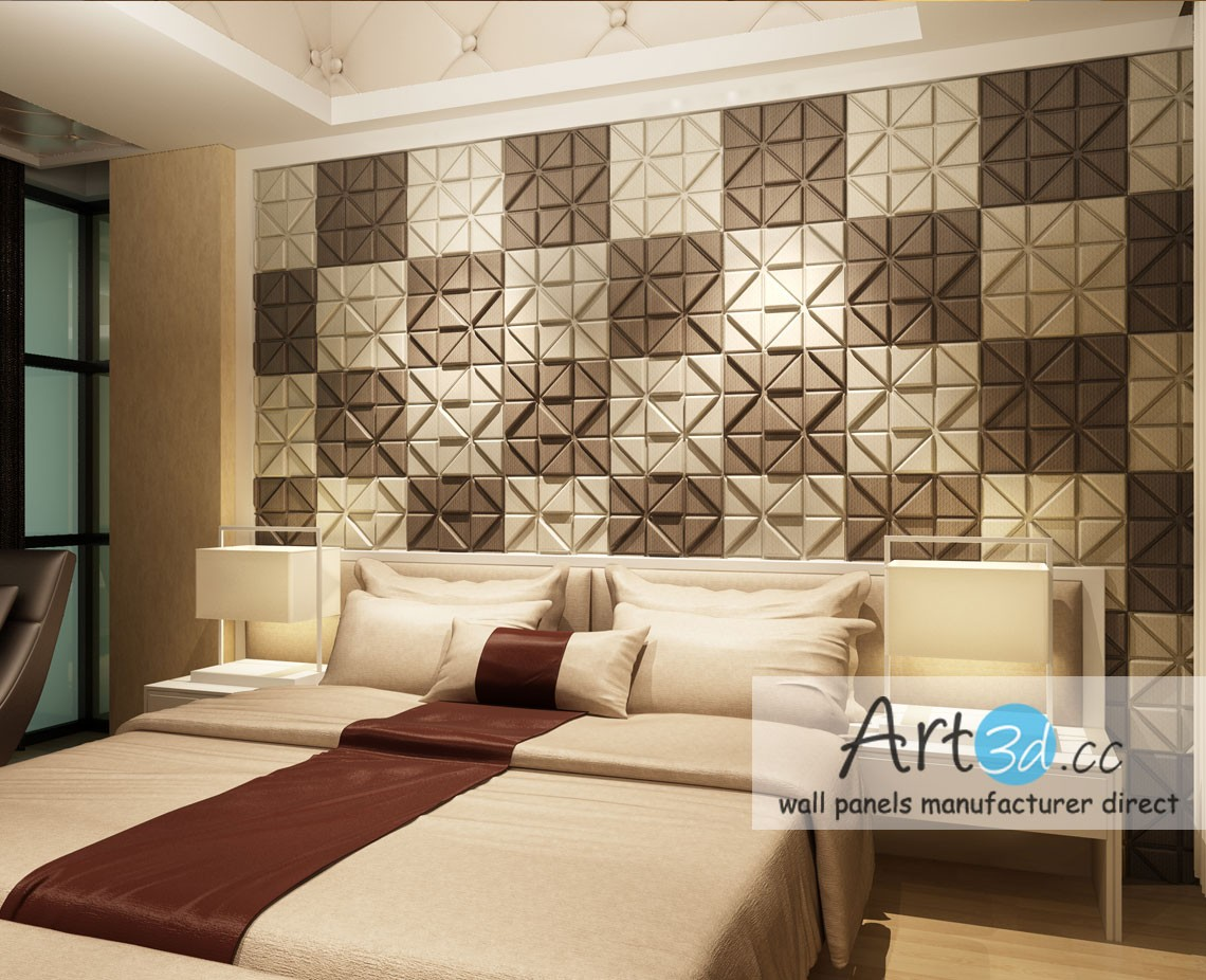 Etonnant Leather Tiles In Bedroom Wall Design