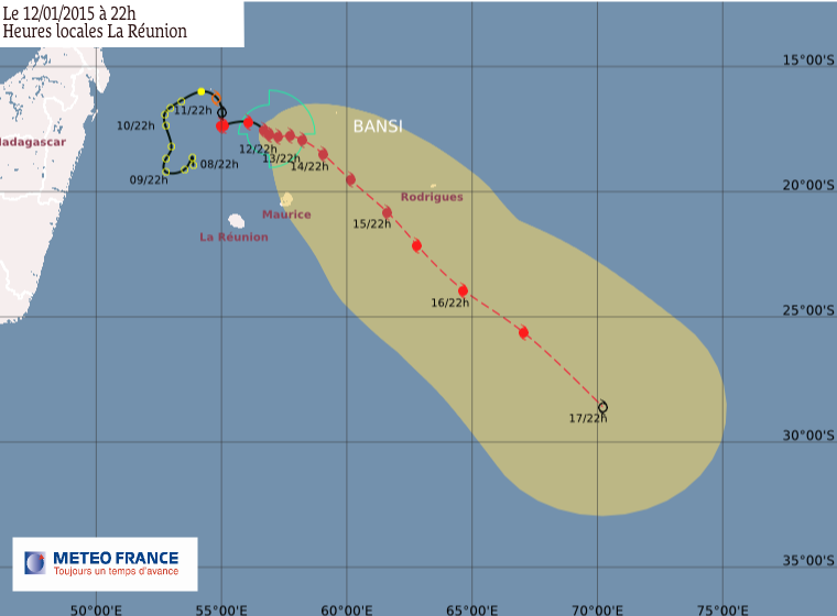 Cyclone tropical Intense Bansi: le point à 22h00