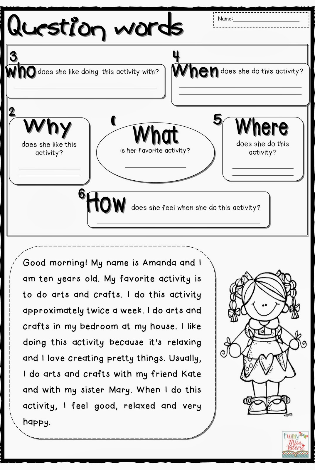Question Words Worksheet - Synhoff