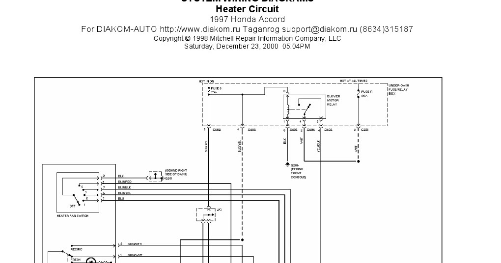 V Manual  1997 Honda Accord Heater Circuit System Wiring