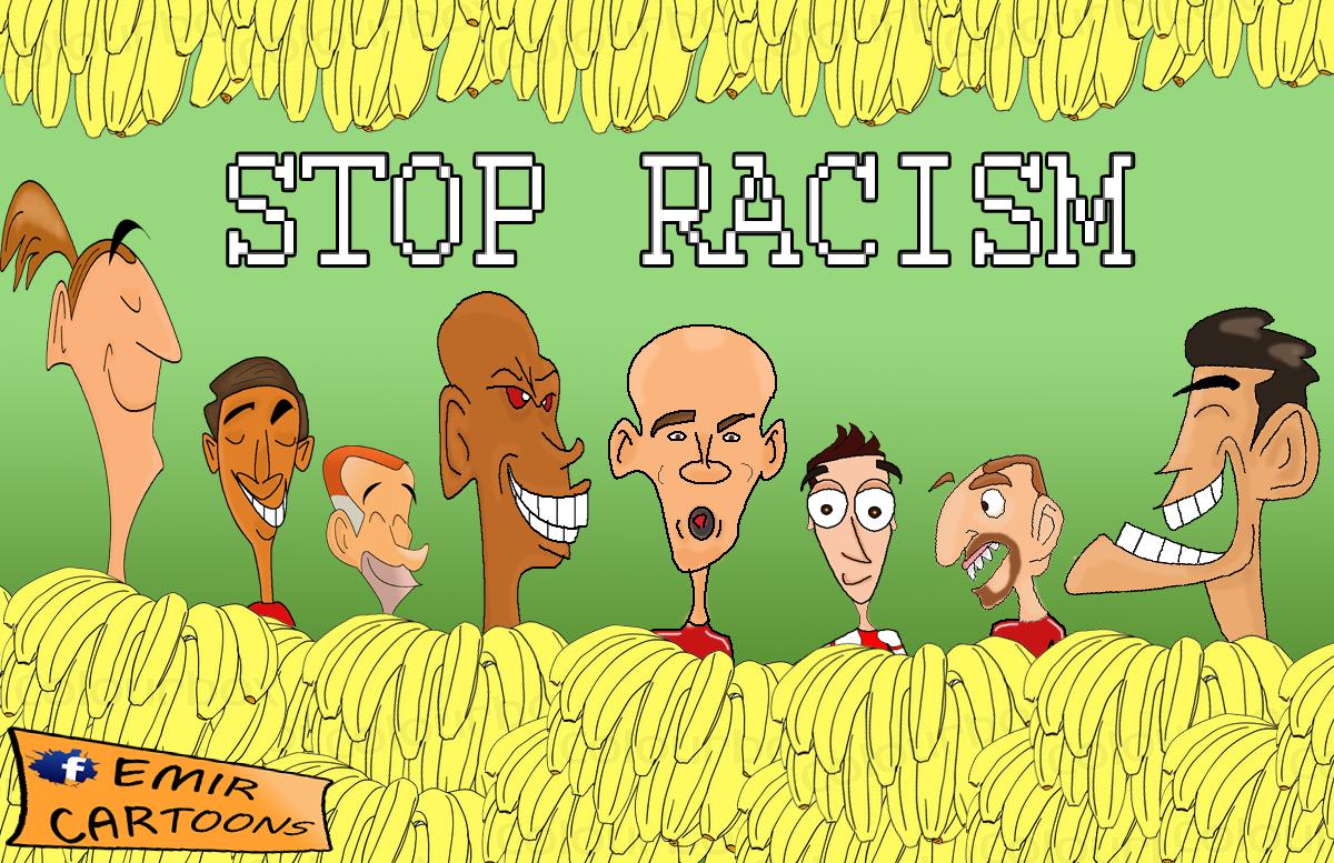 Stop Racism,emir balkan cartoons,Stop Racism football,racizam,fudbal,