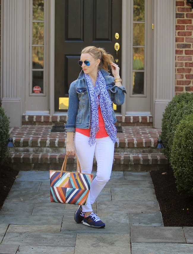 gap scarf, jcrew jean jacket, old navy jeans, saucony sneakers, tory burch handbag, ray ban sunglasses