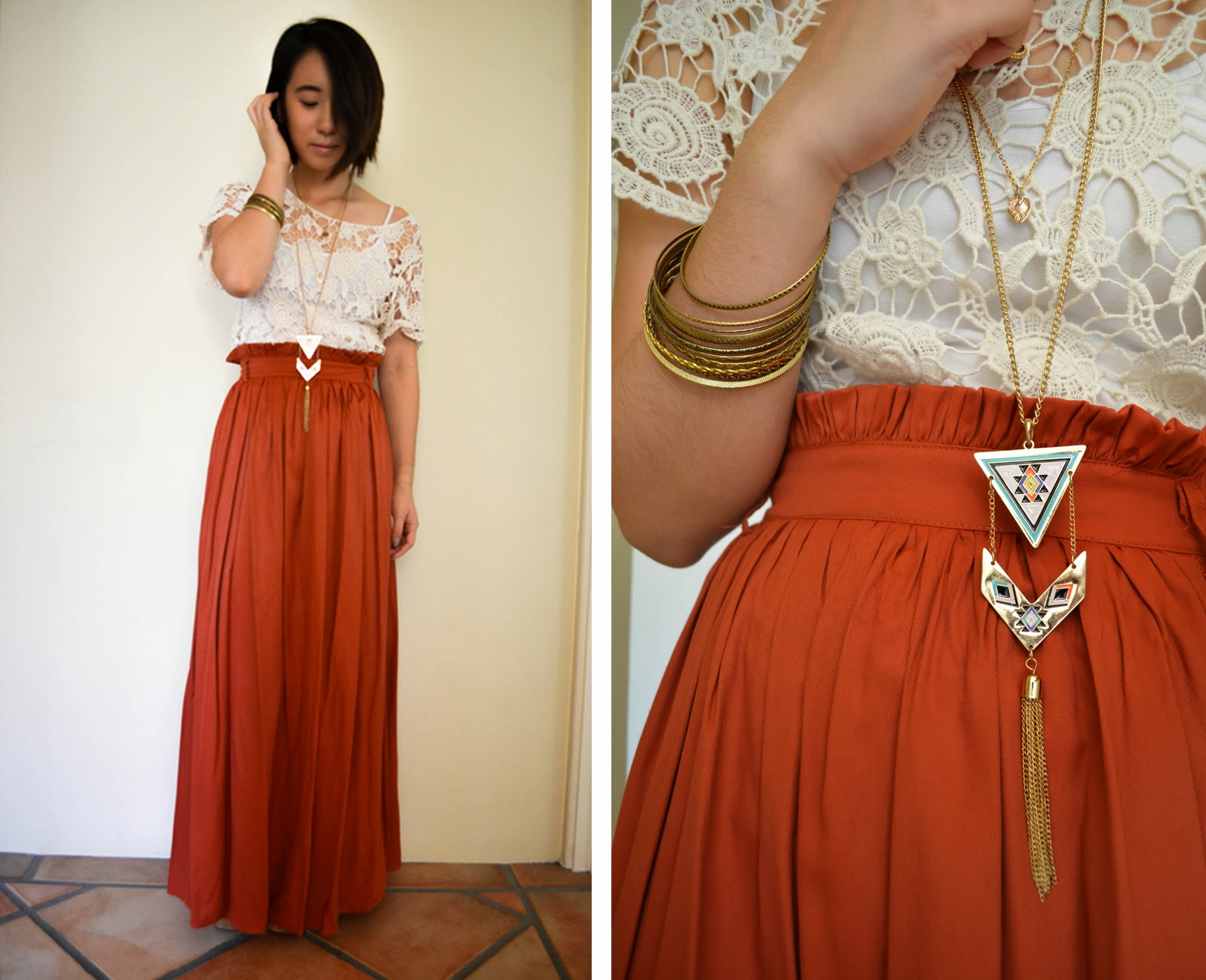 boho bohemian orange burnt hippy lace maxi skirt outfit style inspiration