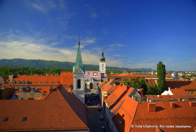 Церковь Святого Марка с высоты башни Лотршчак