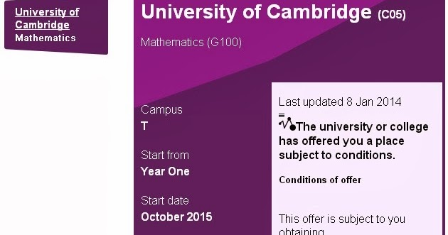 Welcome All Conditional Offer From Cambridge