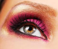 Pink and Golden Eye Makeup