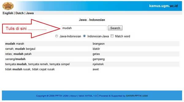Kamus Terjemahan Indonesia - Jawa Online