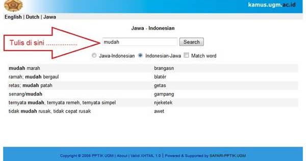 Kamus Terjemahan Indonesia Jawa Online