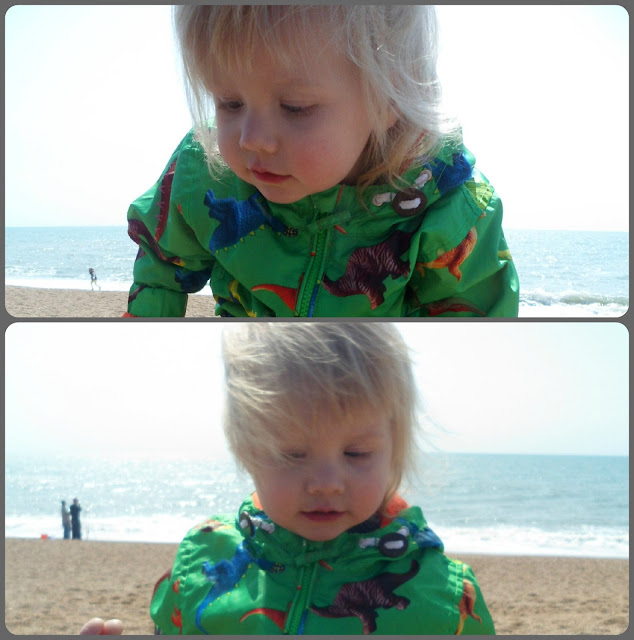 Toddler and pebble beach.