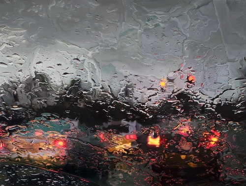 04-Complete-Stop-Gregory-Thielker-Oil-Paintings-In-The-Rain-Photo-realistic