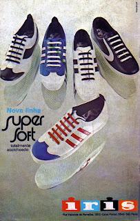 propaganda  tênis super soft Iris - 1973. moda anos 70; propaganda anos 70; história da década de 70; reclames anos 70; brazil in the 70s; Oswaldo Hernandez