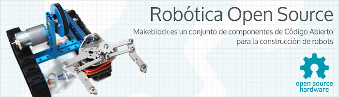 Portada de web MakeBlock con un robot
