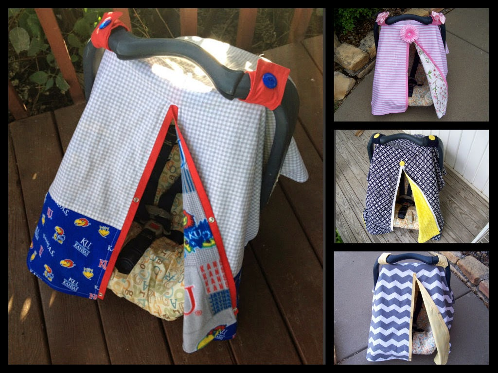 Chelle Belle Bowtique, Etsy, Jayhawk Car Seat Canopy, Blue and Yellow Car Seat Canopy, Cherry Blossom Car Seat Canopy, Gray and Yellow Car Seat Canopy