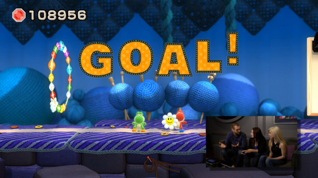 Yoshi's Woolly World goal co-op haunted level flower ring