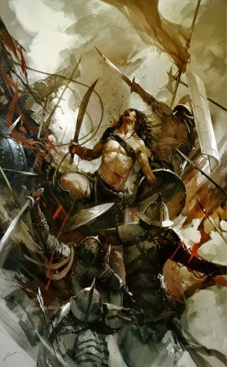 Wenjun Lin illustrations fantasy violence wars battles Spartacus